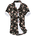 2016 Short Cotton Casual Shirts Dobby Open Stitch New Arrival Promotion Slim Male Print Short-sleeve Summer Shirt Flower