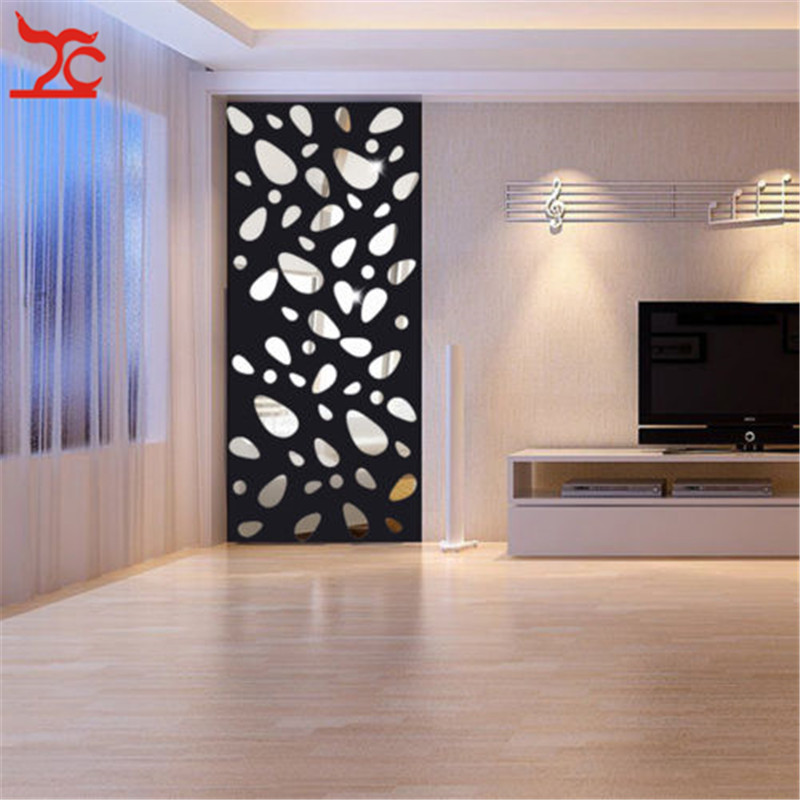 Fashion 12PCS//Lot Hot 3D Mirror Wall Sticker Home DIY Accessories Living Room Ba