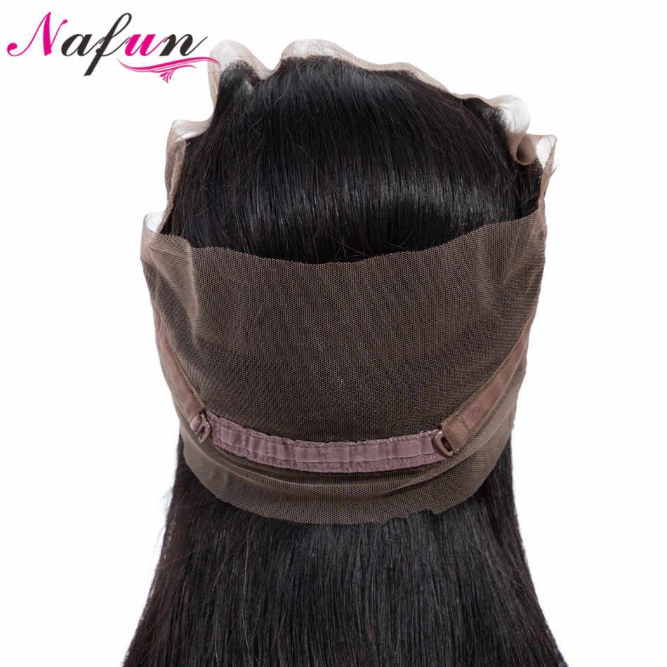 NAFUN волосы прямые переплетения 360 Кружева Фронтальная застежка с ребенком волос бразильский не Реми природных Цвет 100% шнурка человеческих волос фронтальной