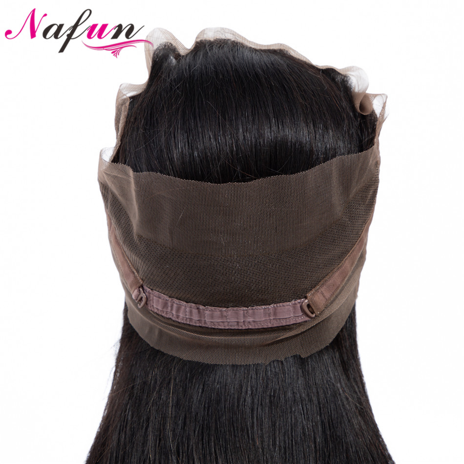 NAFUN Hair Straight Weave 360 Lace Frontal Closure With Baby Hair Brazilian No Remy Natural Color 100% Human Hair Lace Frontal