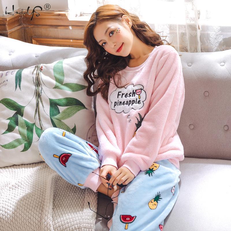 Thickened Flannel Pajamas 2019 Autumn Winter Warm Women Pajama Sets Cartoon Animal Pyjamas Suit Coral Velvet Sleepwear For Women