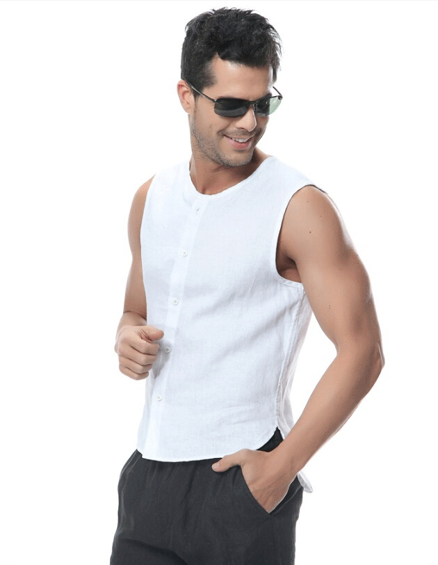 9c90e64ae02 US $19.99 |Men's Sleeveless Linen Shirts thin Section Summer Influx of Male  Fashion V Neck Shirt Loose Casual Shirts-in Casual Shirts from Men's ...