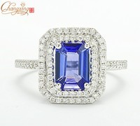 3700 Solid 14K White Gold Natural AAAA Tanzanite Diamond Engagement Ring