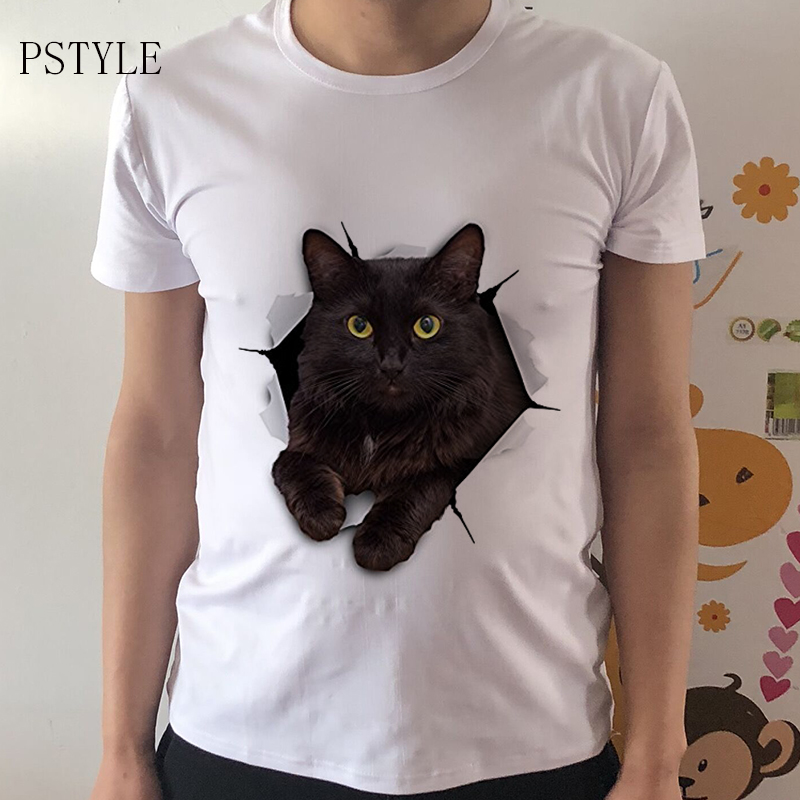 2017 Summer Fashion 3D Black Cat   T  -  Shirt   Newest Men Funny   T     Shirts   Animal Print Tops Hip Hop Tee Pstyle