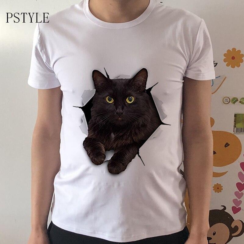2017 verão moda 3d gato preto camiseta mais novo homem engraçado t camisas impressão animal topos hip hop t pstyle