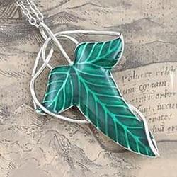 O hobbit vintage elf folha verde colar pingente pino feminino homem jóias acessórios bijoux femme colares bisuteria