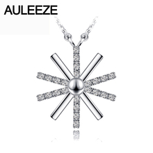 Genuine 925 Sterling Silver Snowflake Pendant NSCD Simulated Diamond White Gold Plated Pendant Chain Necklace For Women