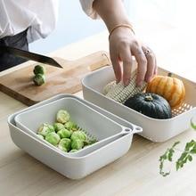 Plastic drain basket kitchen washing three-piece household creative fruit baske