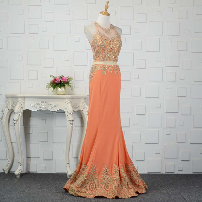9d7281798478 JaneVini Luxury Orange Beaded Women Gown Fake Two Piece Bridesmaid Dresses  Mermaid Gold Lace Appliques Long Wedding Party Dress