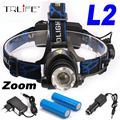 5000 Lumens Headlamp CREE XM-L2 LED Headlamp Headlight Flashlight Head Lamp Light +2*18650 Battery+ AC/Car  Charger