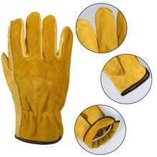 1Pair Leather Gloves Working Protection Gloves Security Garden Labor Gloves Wear Safety Tools High Quality garden gloves 50cm high quality safety gloves working white black waterproof work gloves acid and alkali oil resistant safety gloves working
