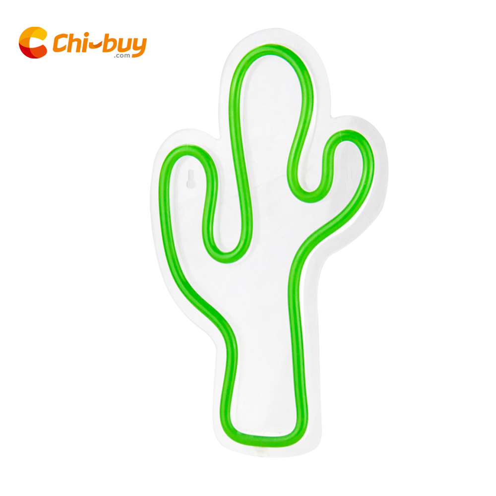 CHIBUY Novelty LED Neon Cactus sign Cactus Night Lamp PVC Neon light Sign Bright Cactus Wall Decor Light wedding home decor