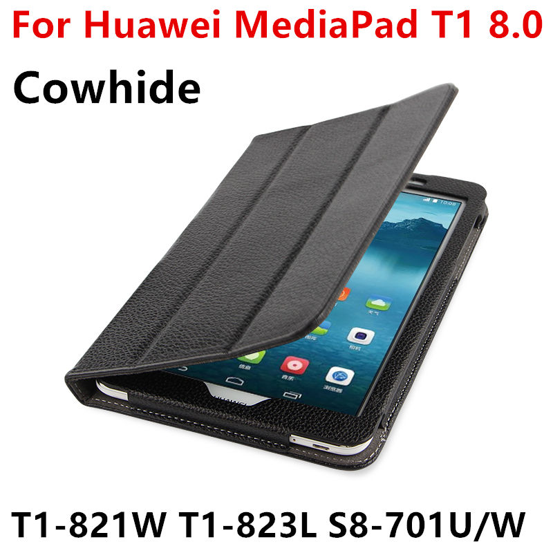 Case Cowhide For Huawei MediaPad T1 8.0 Genuine Protective Smart cover Leather Case For Honor S8-701u T1-823L T1-821W Protector