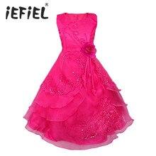 IEFiEL dzieci dziewczyny haftowane kwiat łuk formalne Party suknia balowa księżniczka druhna wesele dzieci Tutu sukienka rozmiar 4 14Y