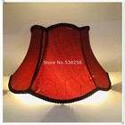 E27 Lampshae for table lamp flower Pattern lace Textile Fabrics Decorative red /beige color lampshade for tablelamp
