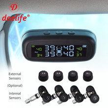 Tire Pressure Monitoring System TPMS Car External Internal Sensor Windshield Solar Wireless Wheels Smart Control Security Alarm(China)