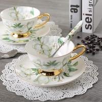Костяного фарфора кофейная чашка керамическая Чай чашки ложка для блюдца в расширенный набор креативные кружки из фарфора кофейная чашка д...