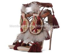 Fringed Fur Cut-outs Sandal Boots Tassel Embellished Studs Woman High Heels Shoes Lace Up Ankle Wrap Stiletto Sandals Pumps цены онлайн