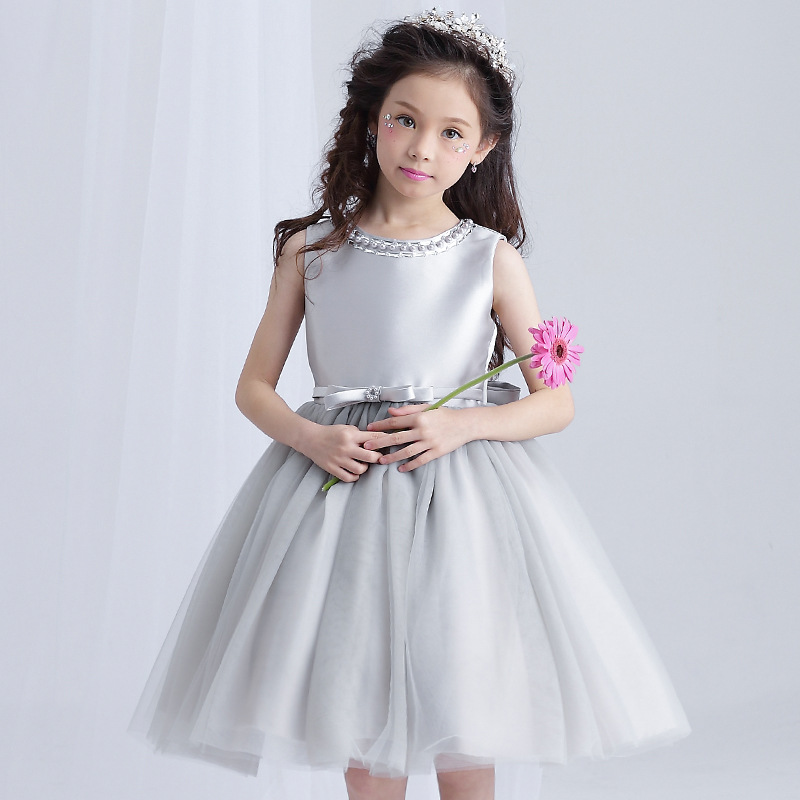 Brithday Girl Dress Weddings Mini Gray Beading Flower Girl