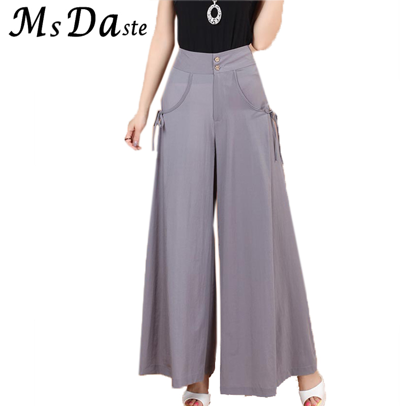 Wide     Leg     Pants   Women 2019 Autumn High Waist Loose Female Skort Flare   Pants   Plus Size Casual Lady Trousers Pantalon Femme Mujer