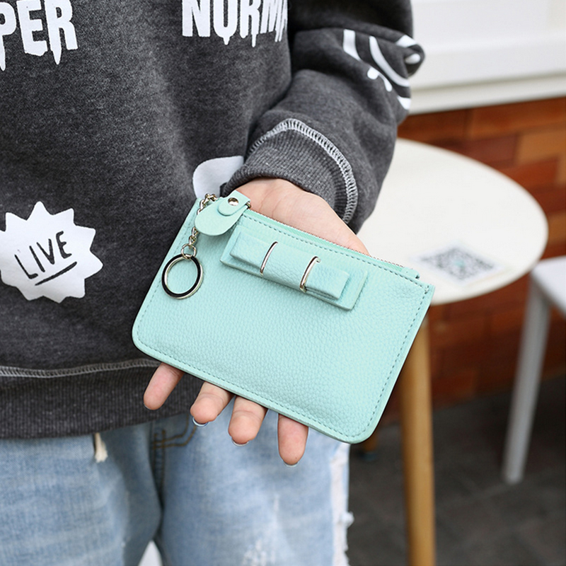 PU Leather Wallets Fashion Women Mini Coin Purse Zipper Clips Small Handbags with Credit Card Holders