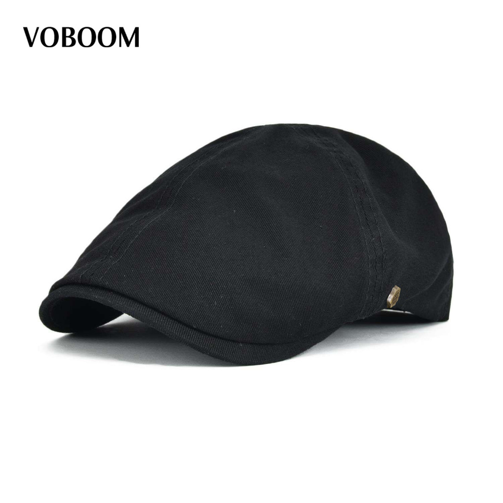 VOBOOM Cotton  Ivy Flat Cap Berets Spring Summer Men Women Solid Casual Driver Cooker Retro Male Female Boina 063(China)