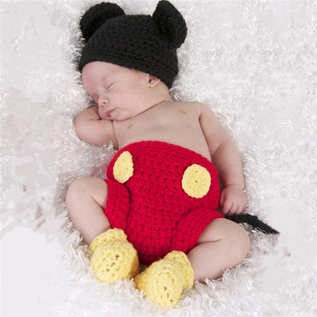 3Pcs/set Baby Mickey Three-piece Suit Newborn Baby Girls Boys Crochet Knit Costume Photography Prop Outfits