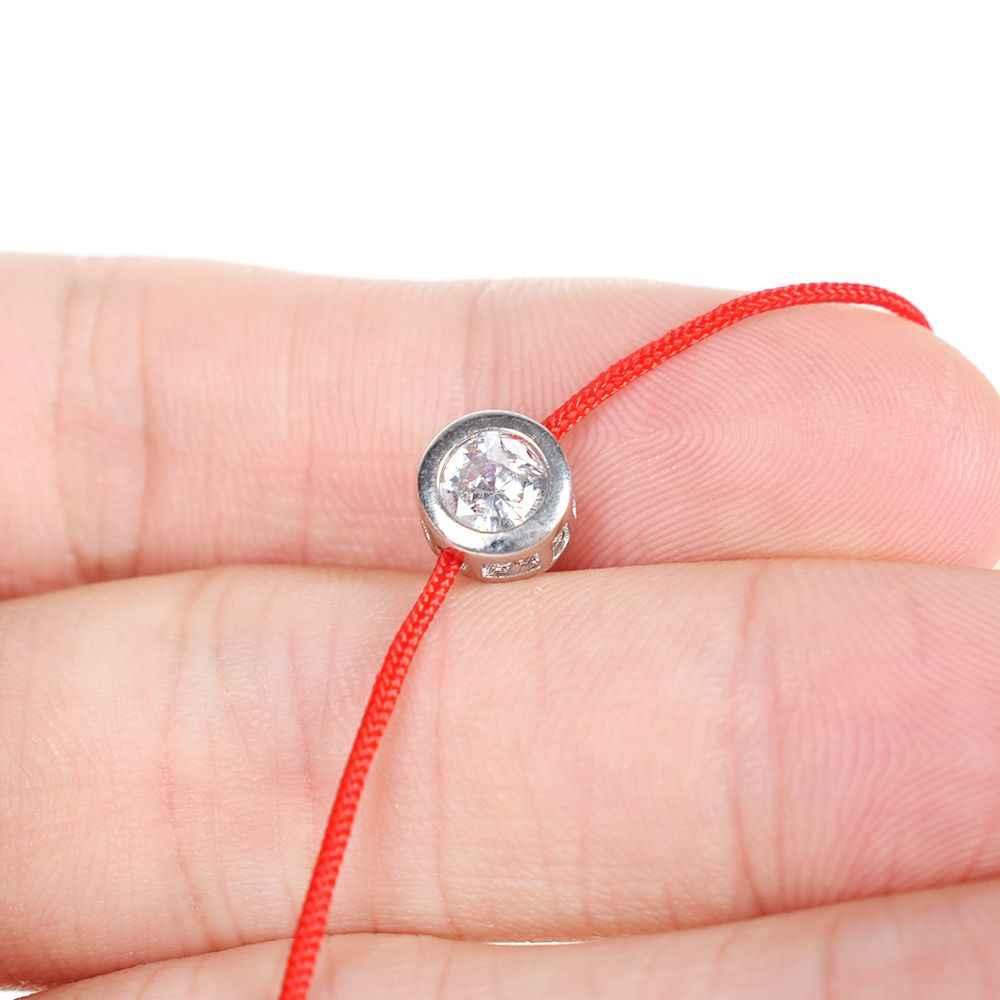 Thời trang Sợi Dây Màu Đỏ Ren Dây Vòng Tay Nhỏ Đính Đá Cubic Zirconia CZ Vòng Tay Handmade Cho Trang Sức Pha Lê Người Yêu