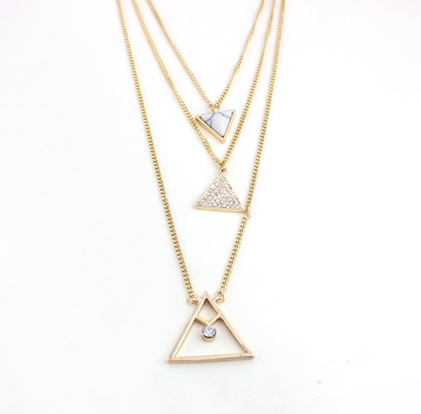 Semi Precious Crystal Pave Turquoise Necklace Set Auger Triangle Three  Layer Gold Plated J.e.w.e.l Crew Inspired 8c2f5a92f9ca