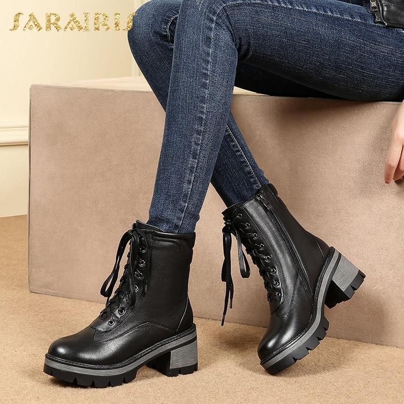 SARAIRIS/Прямая доставка; Большие размеры 34-43 натуральная кожа на квадратном каблуке женские ботильоны обувь для отдыха ботинки martin обувь женщи...