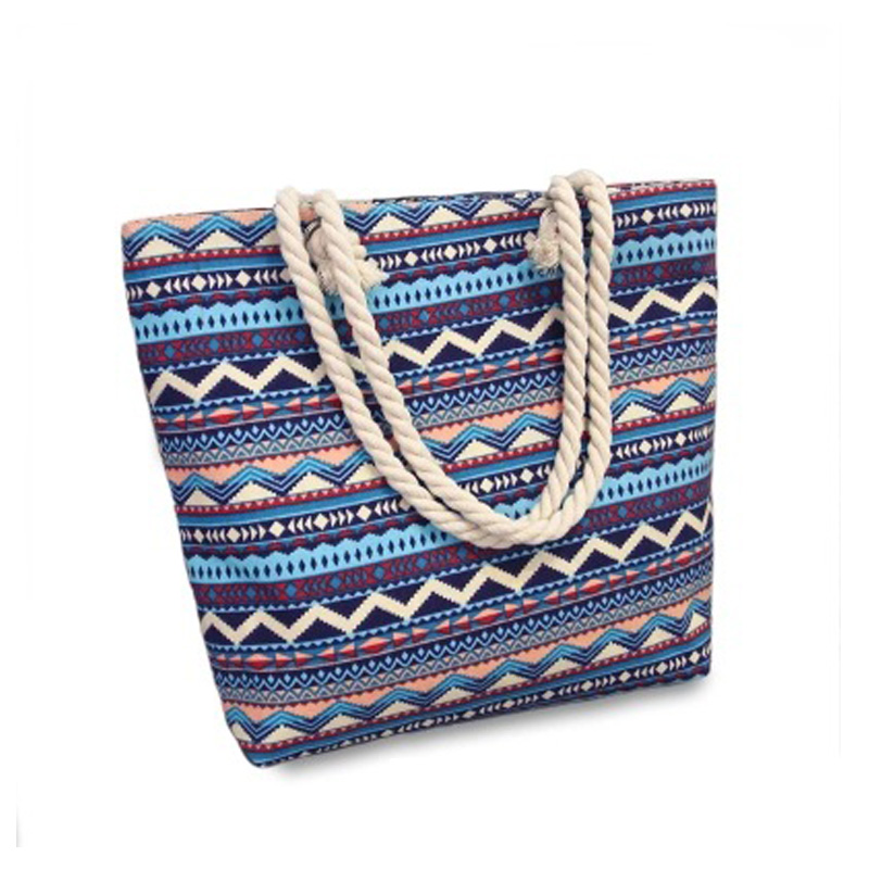 2017 New Summer Women Canvas bohemian style striped Shoulder Beach Bag Female Casual Tote Shopping Big Bag floral Messenger Bags aosbos fashion portable insulated canvas lunch bag thermal food picnic lunch bags for women kids men cooler lunch box bag tote