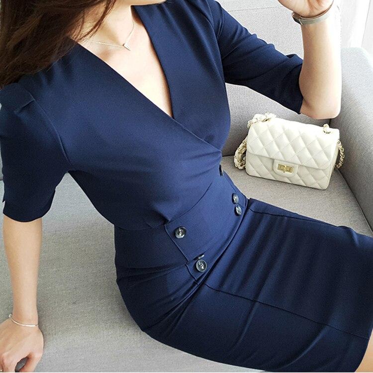 Double Vêtements Dark Breasted Femmes Officiel Travail De Élégant Robe Ol D87206x Nouveau Robes Coréen Moulante Style Blue 2018 B0q7an