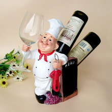 custom double bottle hanging frame cook cup of wine bottles of red wine rack afternoon figure resin craft ornaments