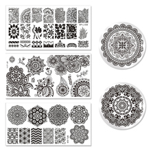 BORN PRETTY 5Pcs Mandala Series Nail Stamping Plate Set Round Rectangle Template Manicure Nail Art Image Plate