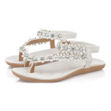b0e4ebad6cd39 Summer Women Sandals Fashion Bohemian Floral Sandalias Female Casual Thong  Flats Shoes Crystal Rhinestone Sandal Back
