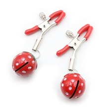 2pcs Nipple Clamps Metal Breast Clips with Strawberry Bells Vibrator Slave Erotic Bondage Couples Flirting Sex Toys For Women