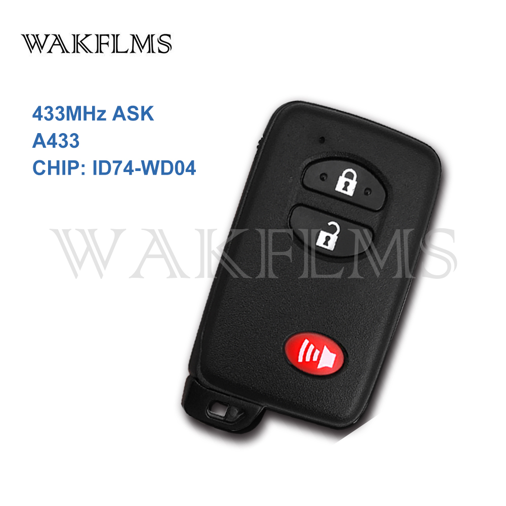 Key Fob Replacement >> Us 127 5 25 Off New 3 Buttons Black 433mhz Pcb A433 Id74 Smart Remote Key For Toyota Replacement Key Fob Replace Genuine Key In Car Key From