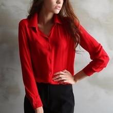 New Trendy Women's Long Sleeve Loose Chiffon Shirt Casual Blouse Tee Shirt Tops