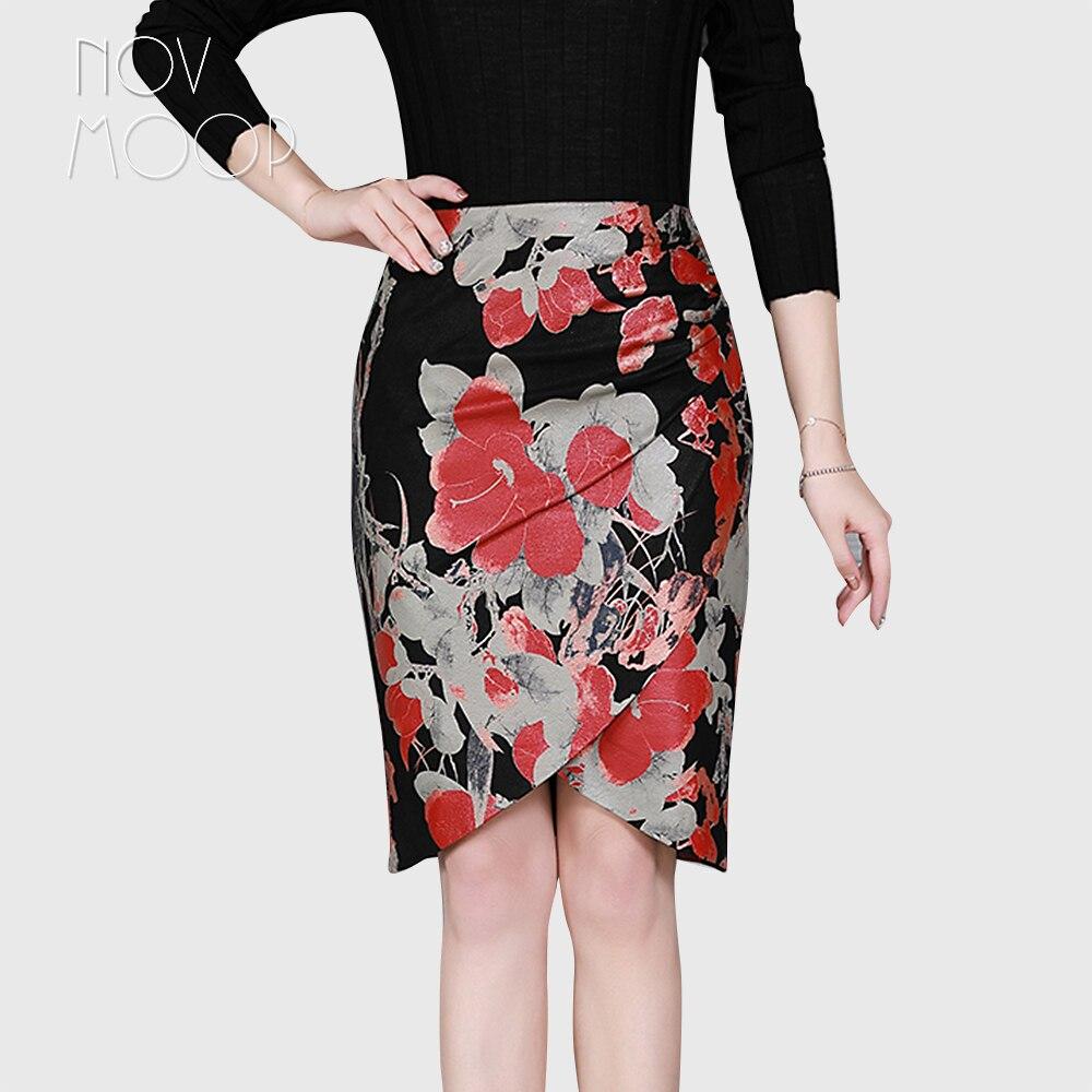 Style coréen femmes rouge imprimé floral noir véritable en cuir d'agneau véritable crayon jupe faldas mujer etek jupe plus la taille LT2602
