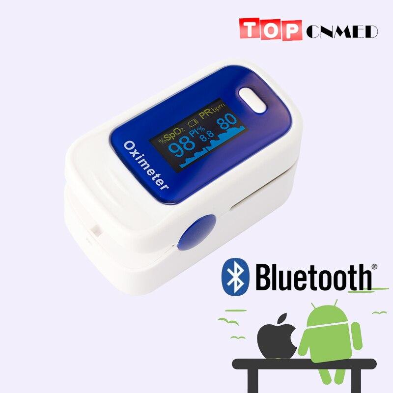 IOS APP android mobile Bluetooth 4.0 OLED doigt oxymètre de pouls doigt oxymètre pulso sang oxygène SpO2 moniteur de Saturation