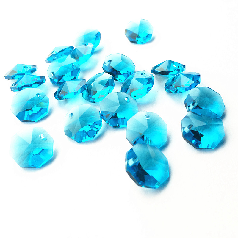 2000pcs lot 14mm Aqua Crystal octagon beads in 1 hole Garland Strands Crystal Chandelier Parts Crystal