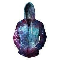CFYH 2018 New Starry sky Hooded Sweatshirt Zipper Outerwear Galaxy Way 3D Hoodies Women Men Zip Up Hoodie TracksuitsS 3XL