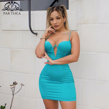 Parthea Sexy Party Dress Women 2019 Summer Push Up Padded Bodycon Backless Dress Satin Chic Spaghetti Straps Cut Out Mini Dress