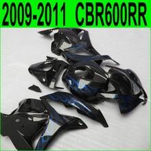 Мотоцикл обтекатель комплект для Honda CBR 600RR литья под давлением 09 10 11 12 синий пламя черный обтекателя CBR600RR 2009-2012 28NJ