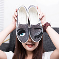 2016 Chiara Ferragni Flats Rodada Toe zapatos mujer Glitter Cílios Blink Eye Sapatas Lisas Das Mulheres Mocassins Preguiçosos Alpercatas Planas