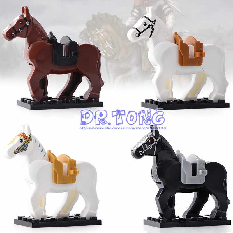 Venta única guerra caballo de caballería figura Medieval Roma caballeros caballo serie bloques de construcción de juguetes para los niños X0158