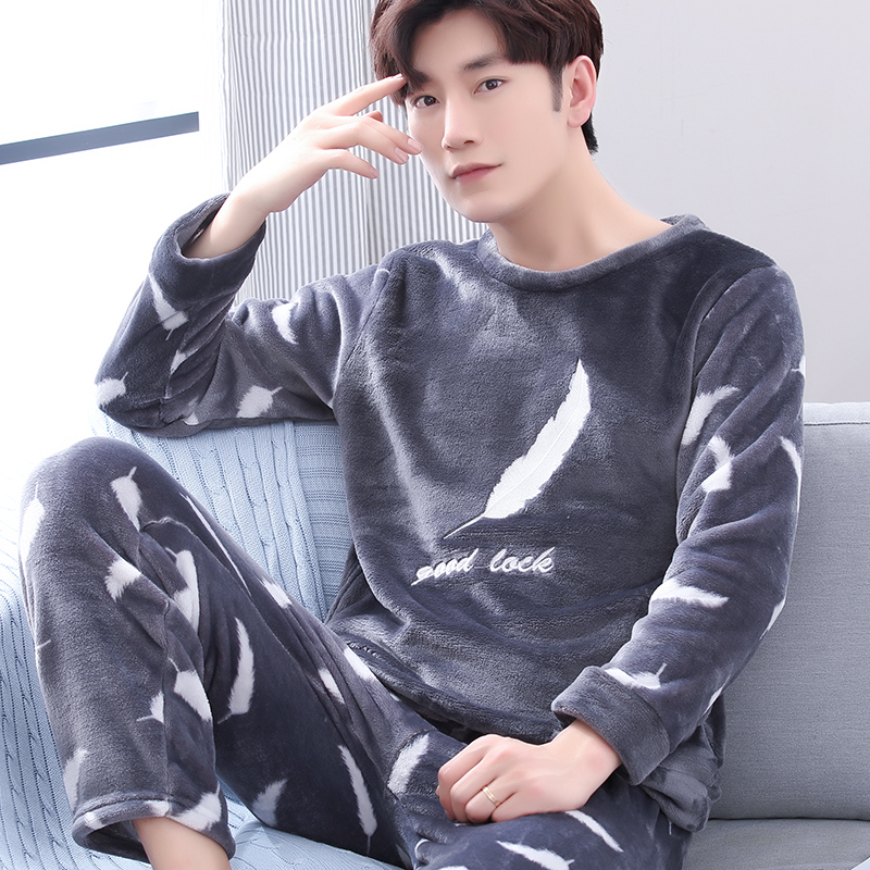 Men Lounge Set Coral Fleece Winter 2020 New Arrival Male Pajama Sets Thick Warm Casual Youngsters Sleepwear Hot Selling
