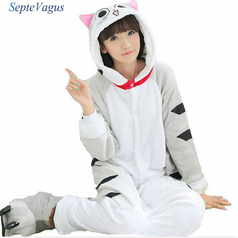 Winter Sleepwear Flannels Animal Pajamas Suit Onesies for Women Couple Pajamas Cheese Cat Warm Pajamas for Women;Pigiama Coppia