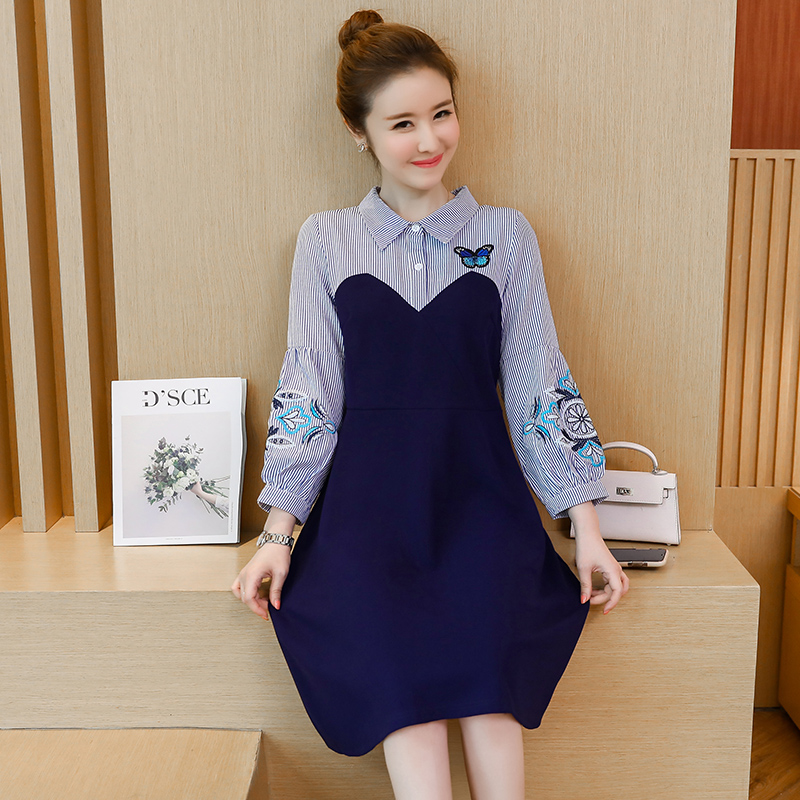 Autumn style Fashion Fake 2 Piece Slim flower Print Dress Long Sleeve Women Casual striped flower embroidery slim Dresses 968C3 in Dresses from Women 39 s Clothing