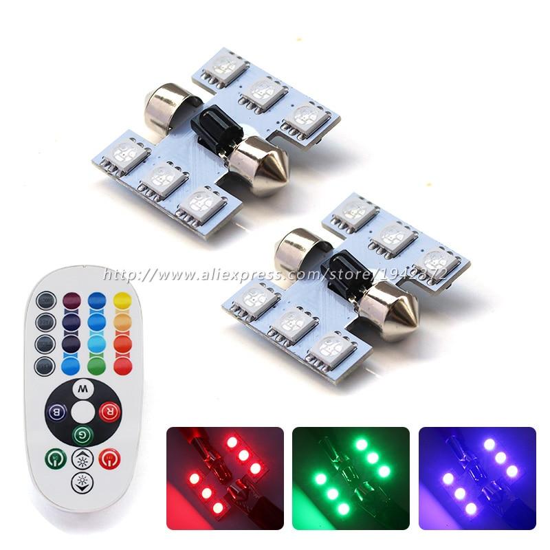 2PCS C5W 5050 6SMD RGB LED ზომები 31 მმ 36 მმ 39 მმ 41 მმ წითელი მწვანე ლურჯი მანქანის ინტერიერის ლიცენზიის ფირფიტა გუმბათის ნათურის დისტანციური მართვის
